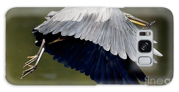 Great Blue Heron Flying With Fish Galaxy Case