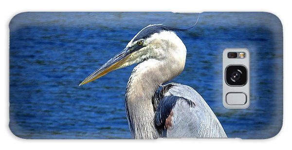 Great Blue Heron Glamor Shot Galaxy Case by Judy Wanamaker