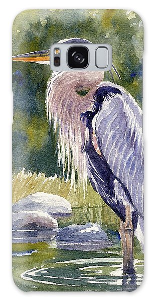 Great Blue Heron In A Stream Galaxy Case