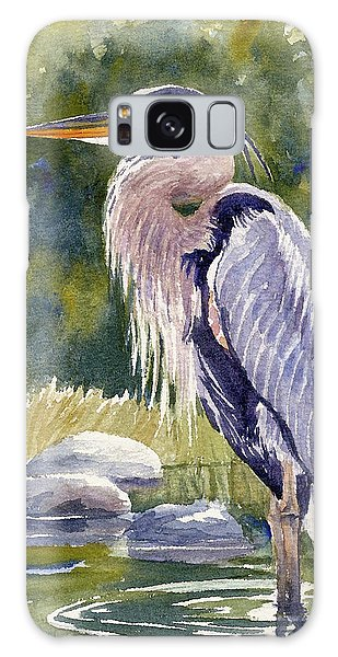 Great Blue Heron In A Stream Galaxy Case