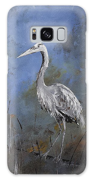 Great Blue Heron In Blue Galaxy Case by Carolyn Doe