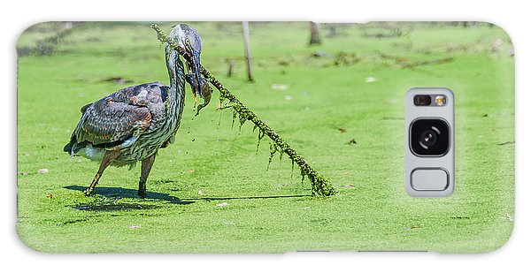 Great Blue Heron Mouthful Galaxy Case by Edward Peterson