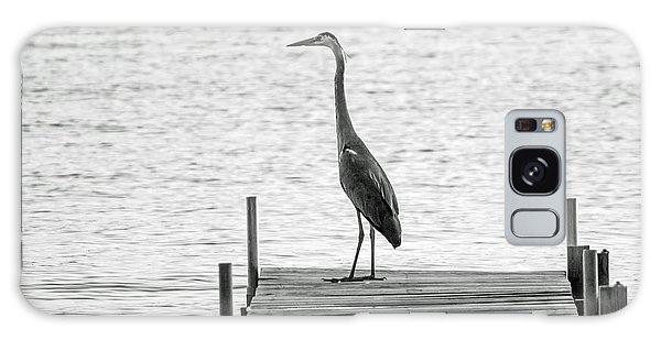 Great Blue Heron On Dock - Keuka Lake - Bw Galaxy Case