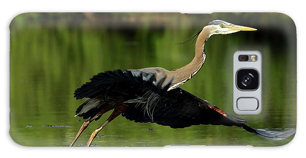Great Blue Heron - Over Green Waters Galaxy Case