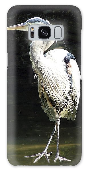 Great Blue Heron Standing Profile Galaxy Case