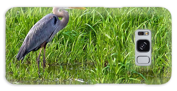 Great Blue Heron Waiting Galaxy Case