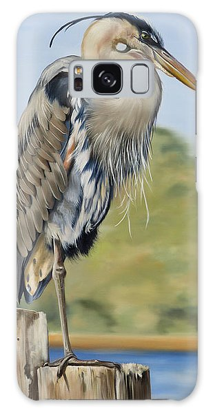 Great Blue Heron Standing Galaxy Case