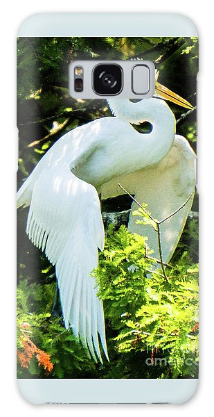 Great Egret Stretching Galaxy Case