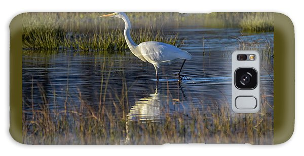 Great Egret, Ardea Alba, In A Pond Galaxy Case by Elenarts - Elena Duvernay photo