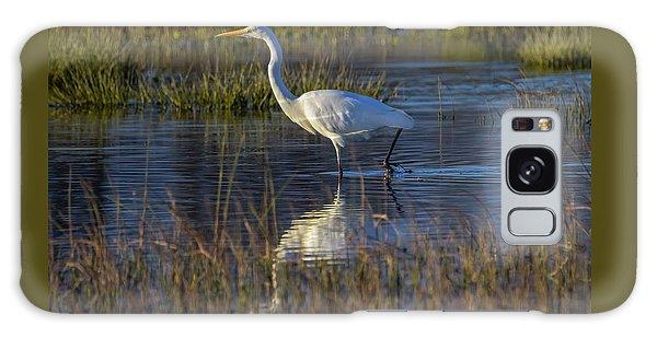 Great Egret, Ardea Alba, In A Pond Galaxy Case