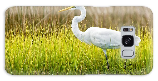 Great Egret In Cedar Point Marsh Galaxy Case