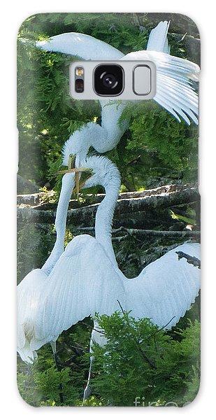 Great Egrets Horsing Around Galaxy Case