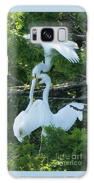 Great Egrets Horsing Around Galaxy Case