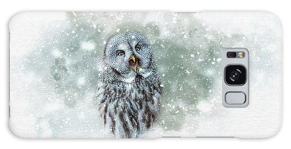 Great Grey Owl In Snowstorm Galaxy Case