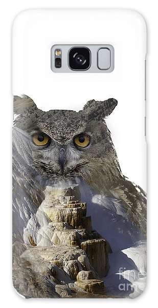 Great Horned Owl And Mammoth Hot Springs Galaxy Case