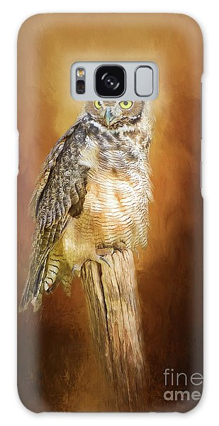 Great Horned Owl In Autumn Galaxy Case