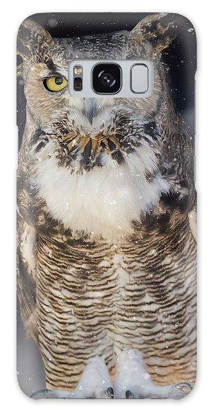 Great Horned Owl In The Snow Galaxy Case