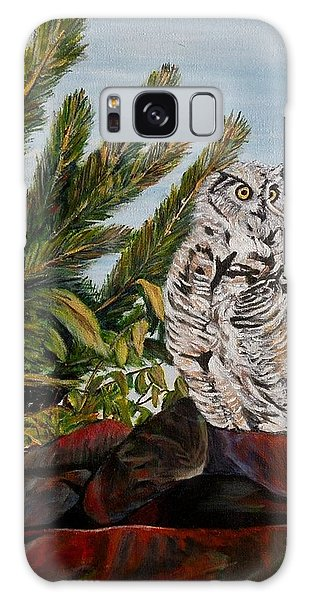 Great Horned Owl - Owl On The Rocks Galaxy Case