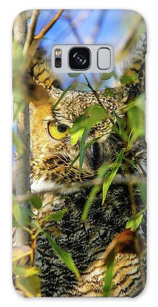 Great Horned Owl Peeking At It's Prey Galaxy Case