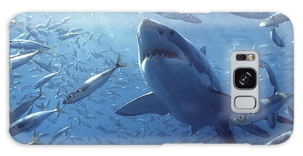 Galaxy Case featuring the photograph Great White Shark Carcharodon by Mike Parry