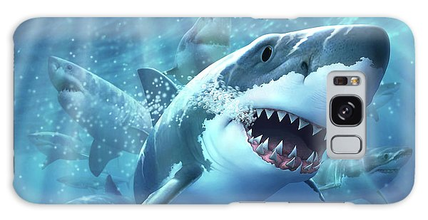 Sharks Galaxy Case - Great White Shark by Jerry LoFaro
