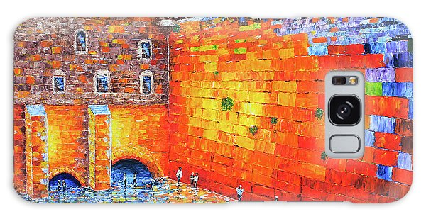Wailing Wall Greatness In The Evening Jerusalem Palette Knife Painting Galaxy Case by Georgeta Blanaru