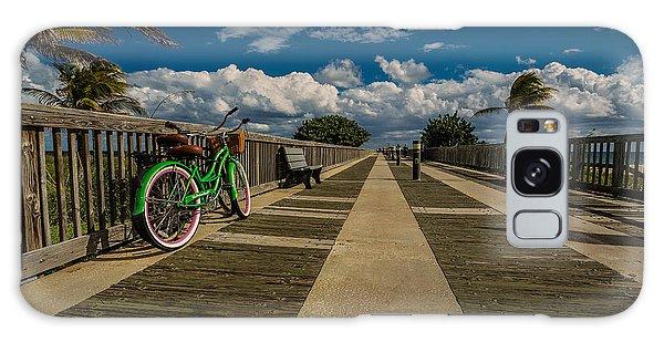Green Bike At The Beach Galaxy Case