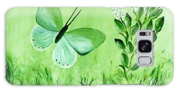 Galaxy Case featuring the painting Green Butterfly by Sonya Nancy Capling-Bacle