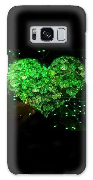 Green Clover Heart Galaxy Case