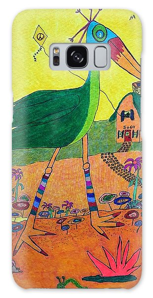 Green Crane With Leggings And Painted Toes Galaxy Case