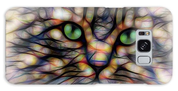 Green Eye Kitty Square Galaxy Case by Terry DeLuco