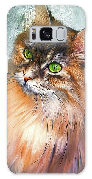Green-eyed Maine Coon Cat - Remastered Galaxy Case