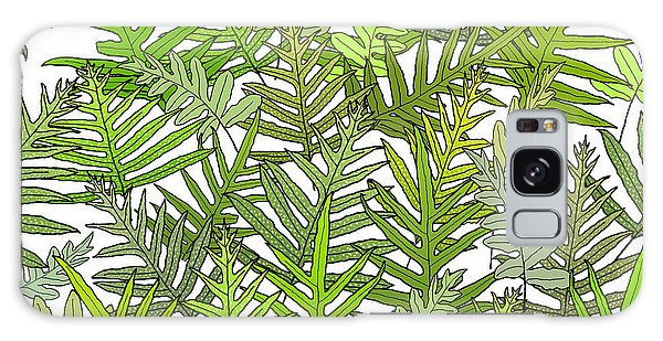 Green Fern Tangle On White Galaxy Case