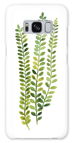 Gardens Galaxy Case - Green Fern Watercolor Minimalist Painting by Joanna Szmerdt