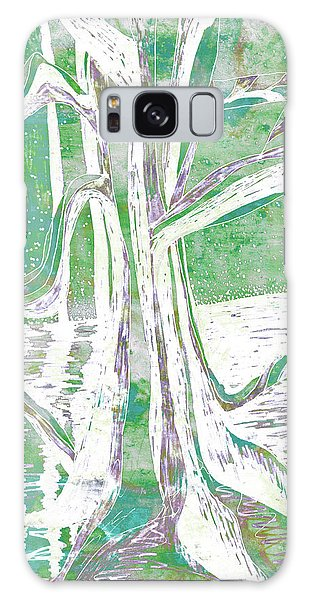 Green-grey Misty Morning River Tree Galaxy Case