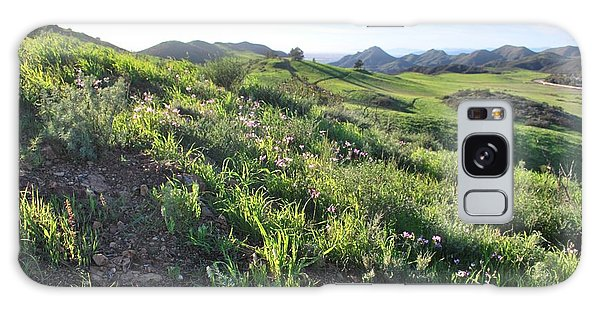 Galaxy Case featuring the photograph Green Hills Purple Flowers - Rocky View by Matt Harang