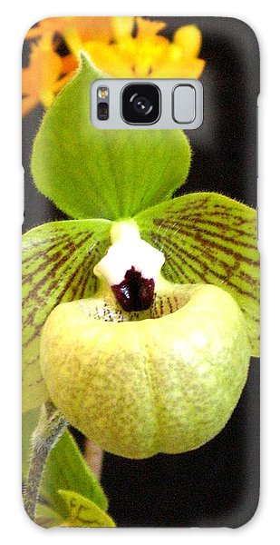 Green Ladyslipper Orchid Galaxy Case