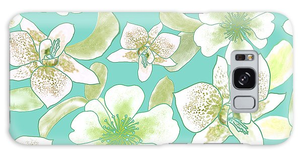 Green Spotted Orchids On Turquoise Galaxy Case