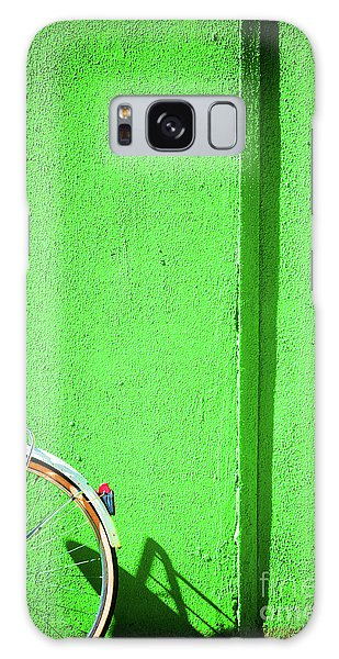 Galaxy Case featuring the photograph Green Wall And Bicycle Wheel by Silvia Ganora