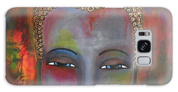 Grey Buddha In A Circular Background Galaxy Case