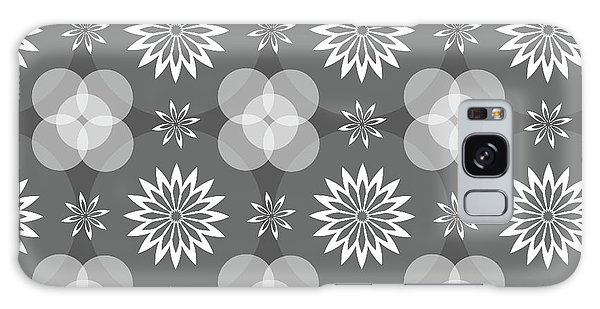 Grey Circles And Flowers Pattern Galaxy Case