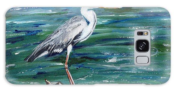 Grey Heron Of Cornwall -painting Galaxy Case