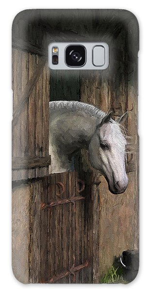 Grey Horse In The Stable - Waiting For Dinner Galaxy Case by Jayne Wilson