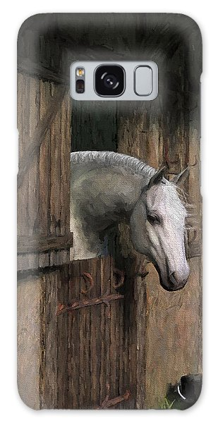 Grey Horse In The Stable - Waiting For Dinner Galaxy Case