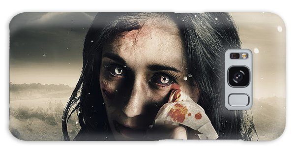 Anguish Galaxy Case - Grim Face Of Horror Crying Tears Of Blood by Jorgo Photography - Wall Art Gallery