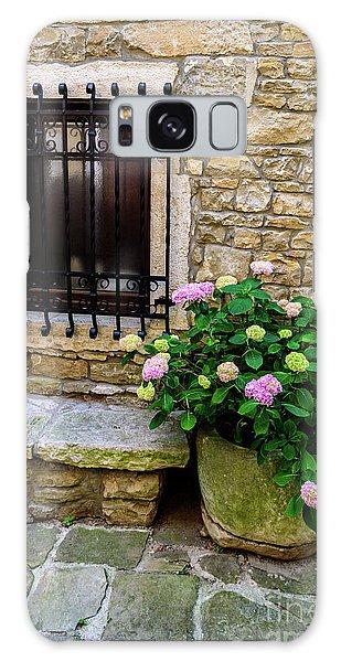 Groznjan Istrian Hill Town Stonework And Flowerpot - Istria, Croatia Galaxy Case