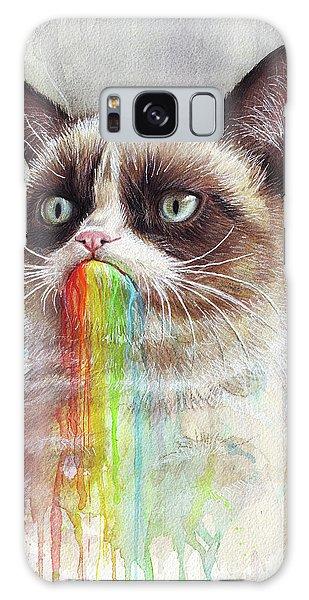 Cat Galaxy Case - Grumpy Cat Tastes The Rainbow by Olga Shvartsur