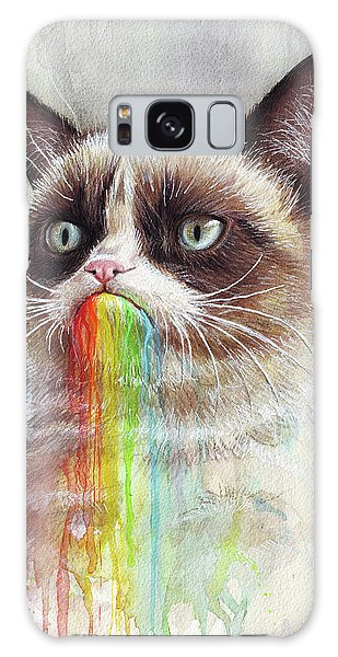 Cat Galaxy Case - Grumpy Cat Tastes The Rainbow by Olga Shvartsur