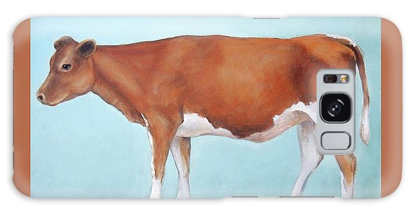 Cow Galaxy Case - Guernsey Cow Standing Light Teal Background by Dottie Dracos