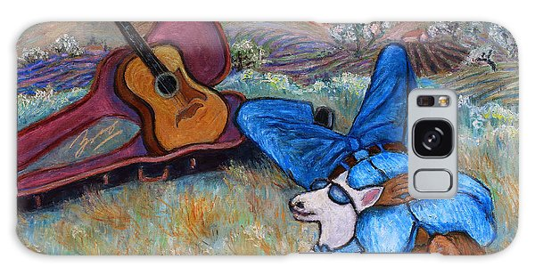 Galaxy Case featuring the painting Guitar Doggy And Me In Wine Country by Xueling Zou
